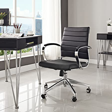 Modway Jive Ribbed Mid Back Computer Desk Swivel Office Chair In Black