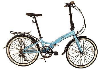 Bicicleta plegable ECOSMO 24AF02B, ligera, con ruedas de 24 pulgadas, 7velocidades