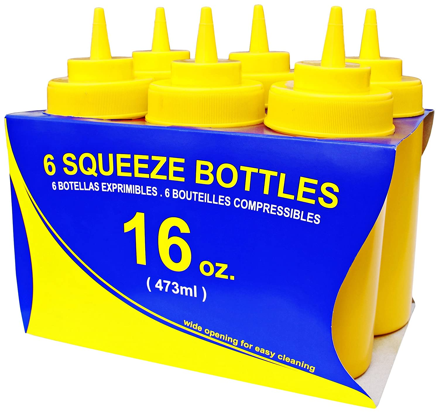Pack of 6 Plastic New Star Foodservice 26177 Squeeze Bottles Wide Mouth 16 oz Clear