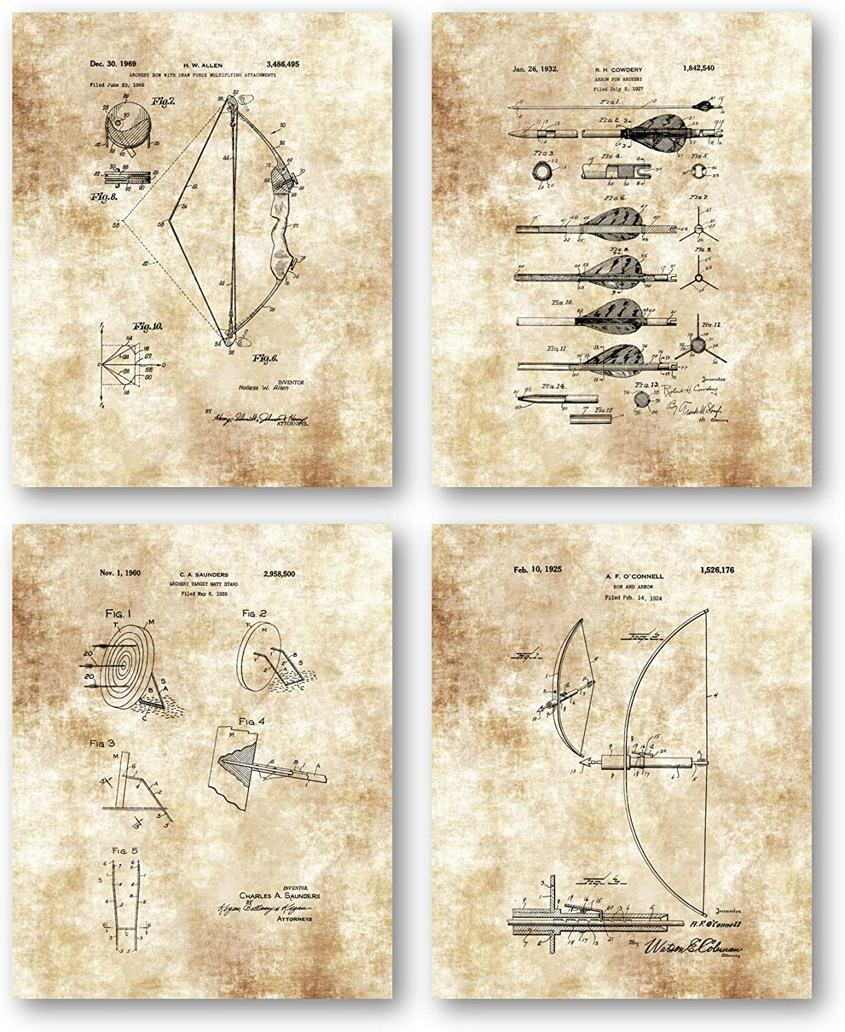Ramini Brands Original Archery Patent Art Drawings- Set of 4 8 x 10 Unframed Prints - Great Gift for Archers and Bow Hunters - Stunning Decor for Mancaves, Cabins and Lodges