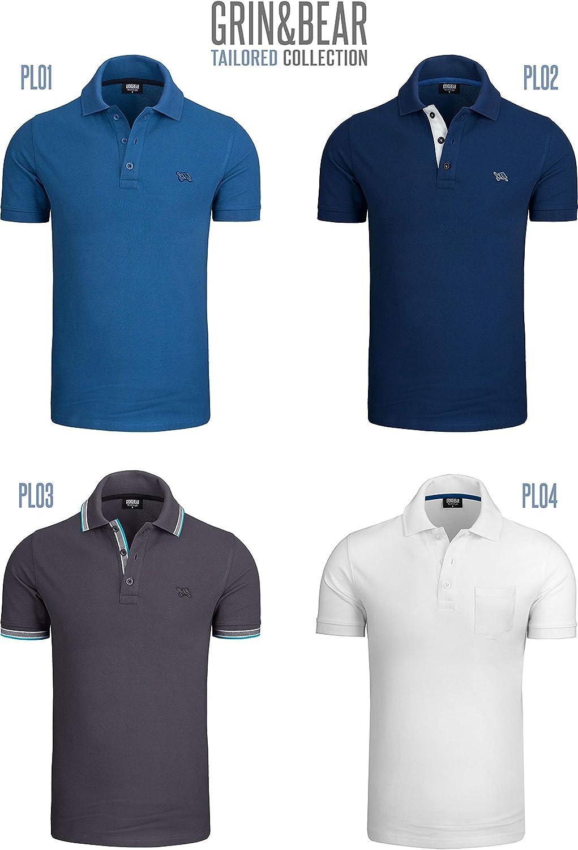 Grin/&Bear Slim-Fit und Regular-Fit 100/% Baumwolle Poloshirt Herren PL01