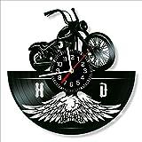Harley Davidson Vinyl Clock, Harley Davidson Wall Clock 12 inch (30 cm), Original Gifts for Fans Harley Davidson, The Best Ho