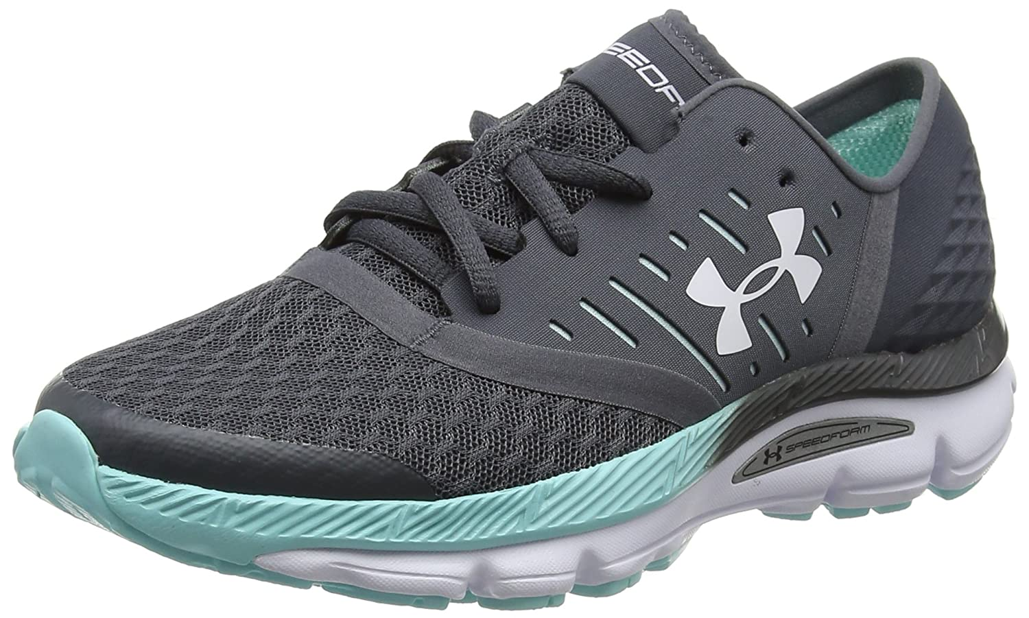 Under Armour Women's Speedform Intake Running Shoe, Black/Stealth Gray/White B01N7HIPD9 5 B(M) US|Rhino Gray/Blue Infinity/White