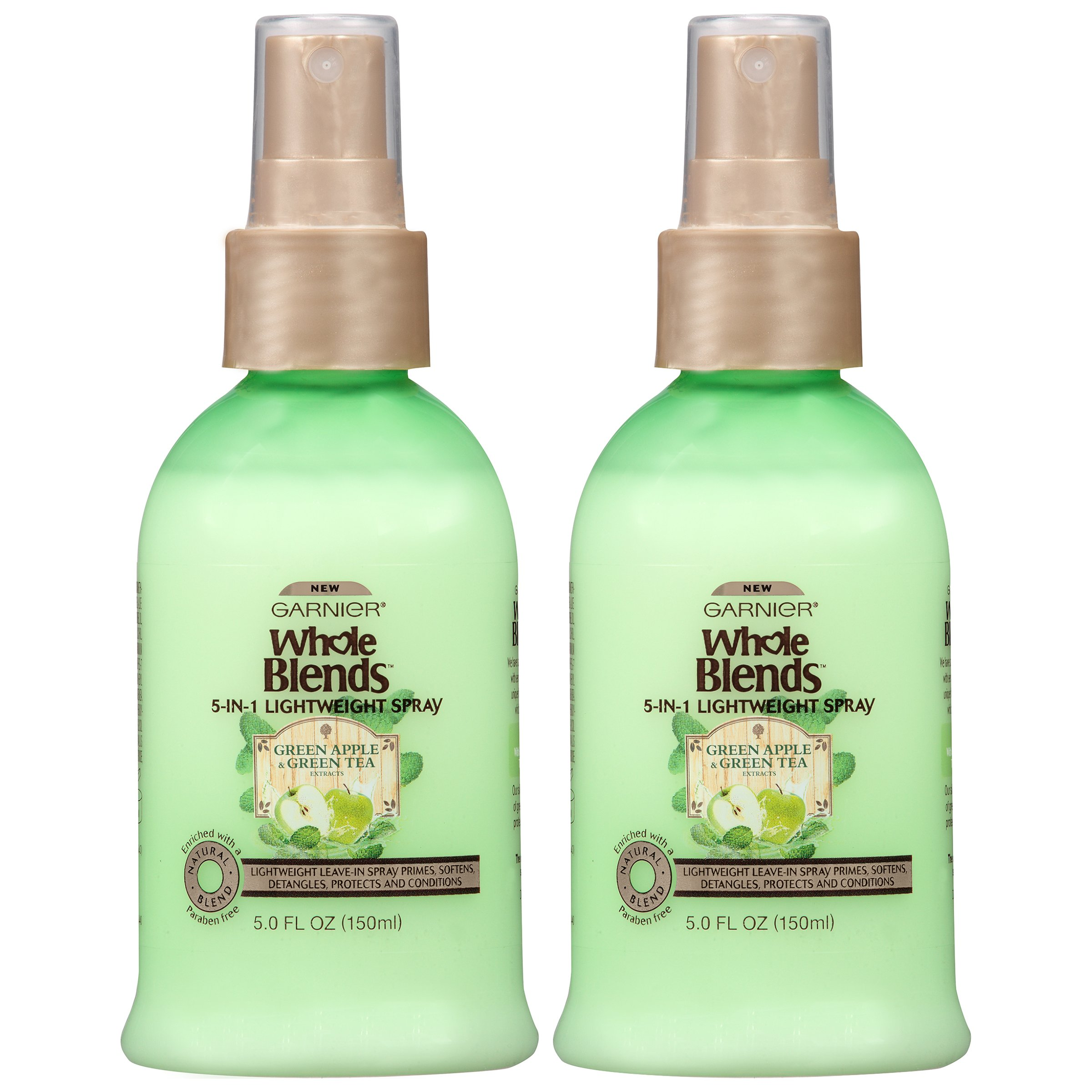 Garnier Hair Care Whole Blends Refreshing 5-in-1 Lightweight Detangler Spray with Green Apple & Green Tea Extracts for Normal Hair, 2 Count