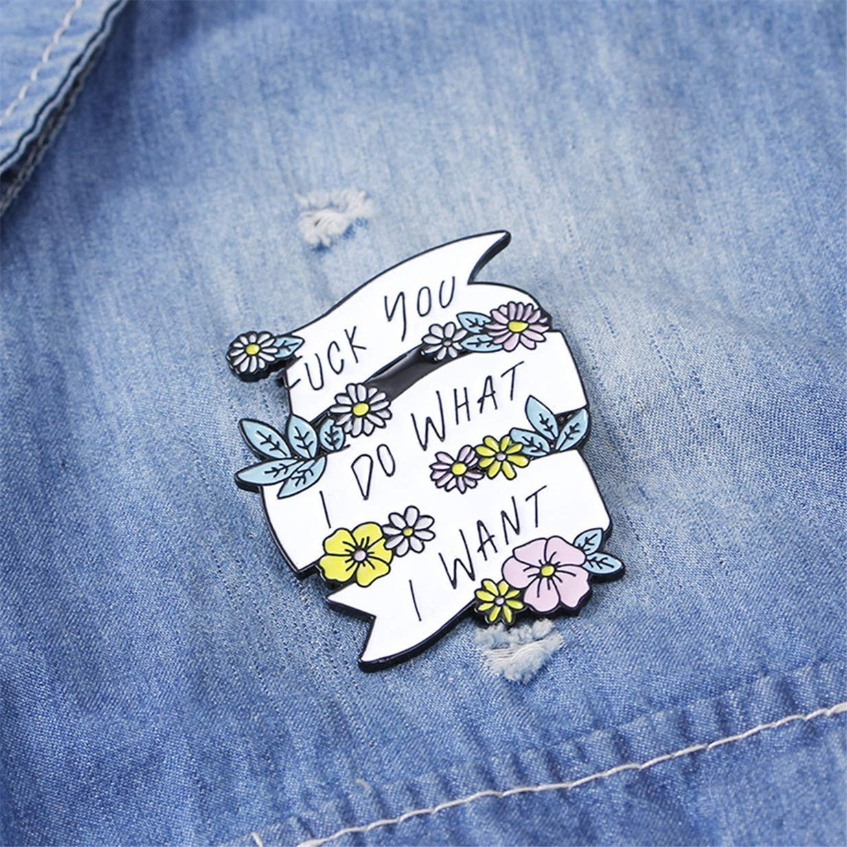 Tcplyn  Cartoon Plant Flower Lettering Enamel Pin Collar Lapel Brooch Badge Clothing Accessories by Tcplyn (Image #2)