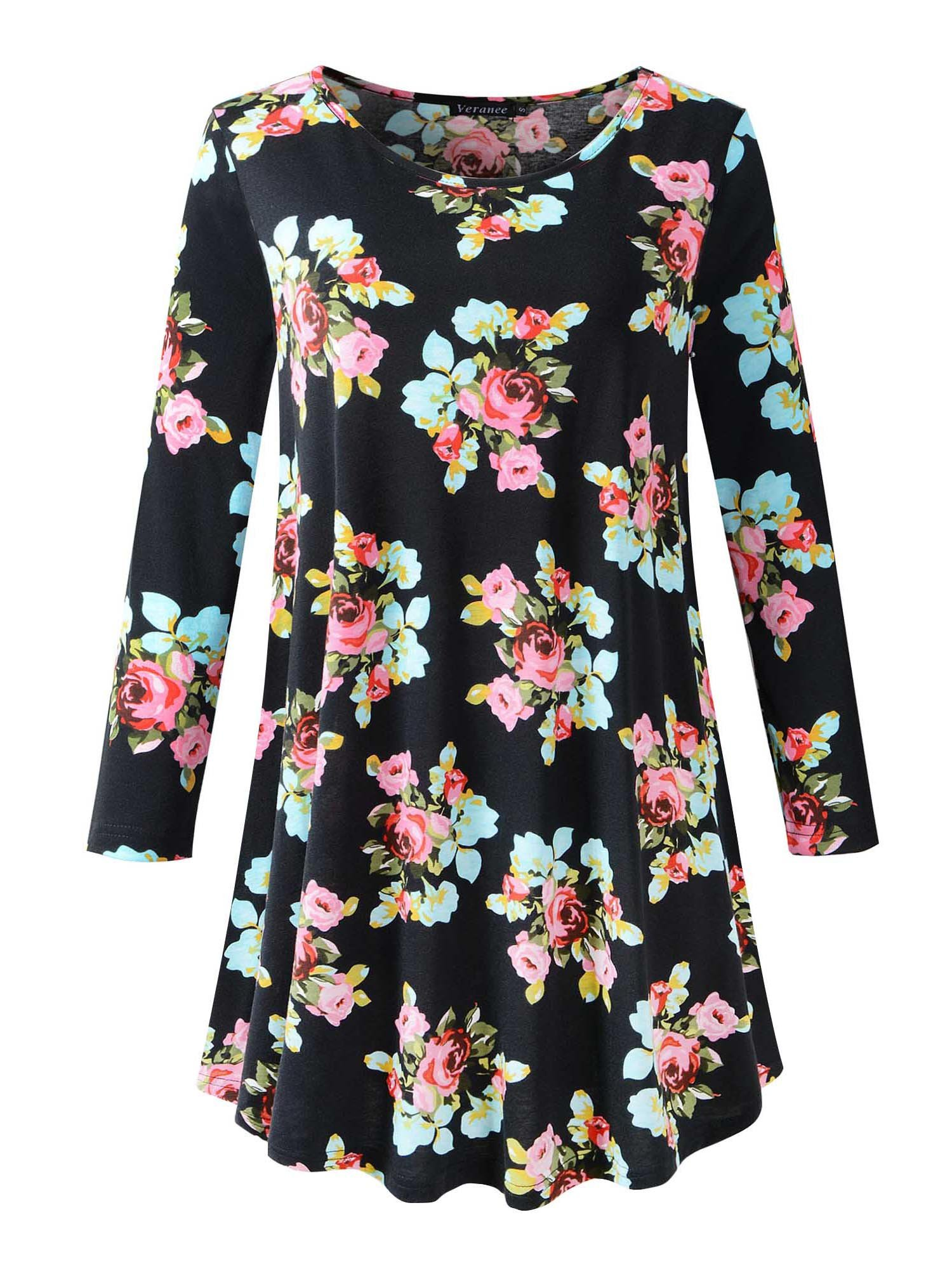 Veranee Women's Plus Size Swing Tunic Top 3/4 Sleeve Floral Flare T-Shirt Large 16-1