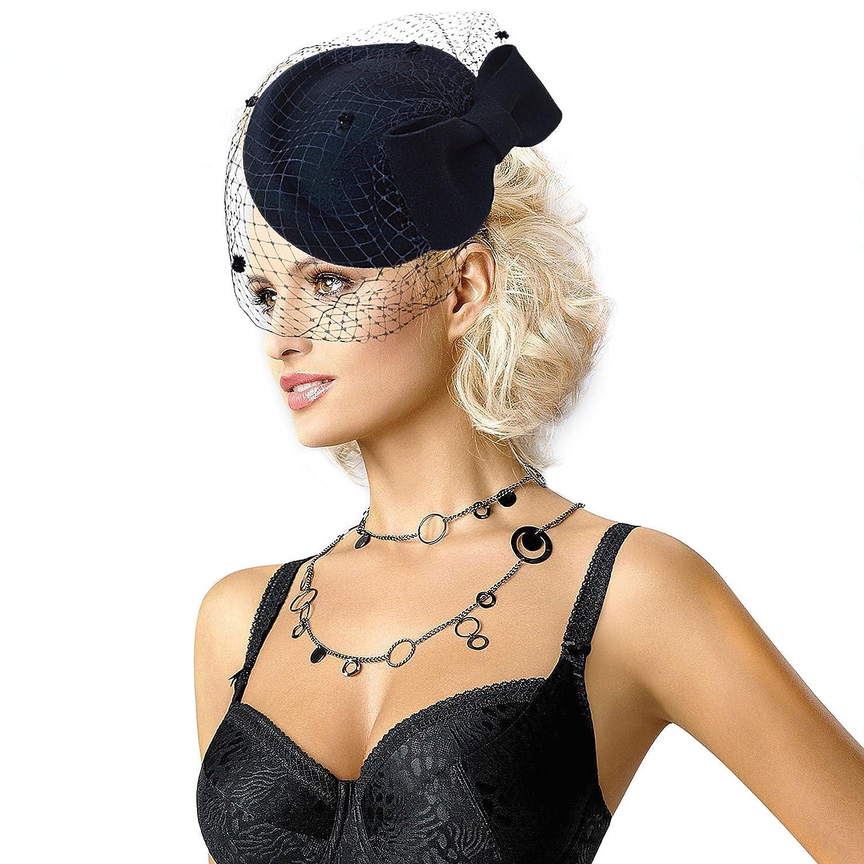 Lawliet Womens Dress Fascinator Wool Felt Pillbox Hat Bow Veil  (Black)(Size  One size)  Amazon.co.uk  Clothing 097f6b24e98
