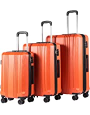 Coolife Luggage Expandable Suitcase PC+ABS with TSA Lock Spinner 20in24in28in (Orange, 3 Piece Set)