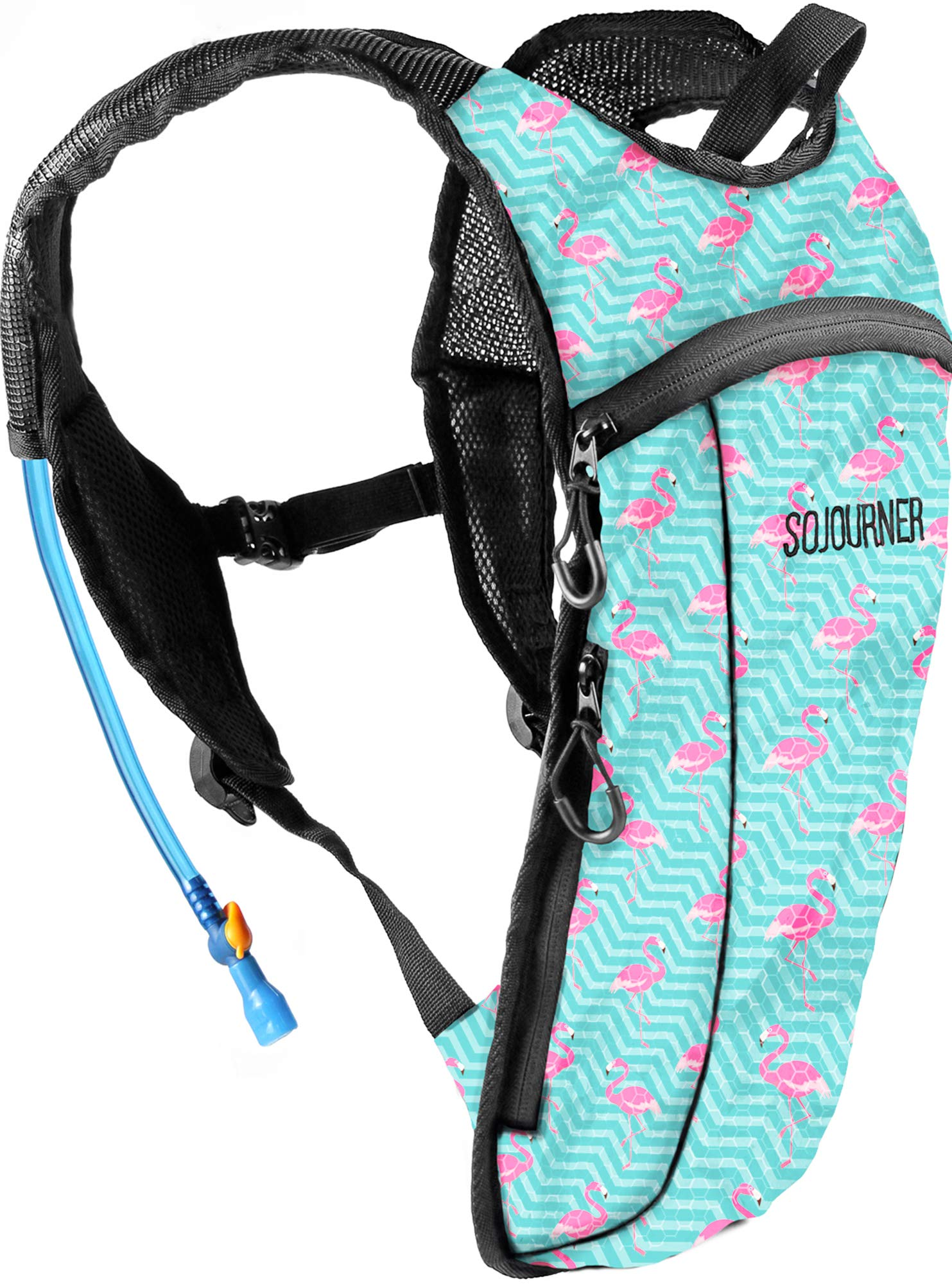 Sojourner Rave Hydration Pack Backpack - 2L Water Bladder Included for Festivals, Raves, Hiking, Biking, Climbing, Running and More (Small) (Flamingo) by SoJourner Bags