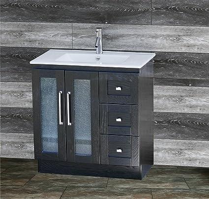 ELIMAXu0027S 30u0026quot; Bathroom Vanity Solid Wood Cabinet Unique Designed Ceramic Top Sink Faucet B3018- & Amazon.com: ELIMAXu0027S 30