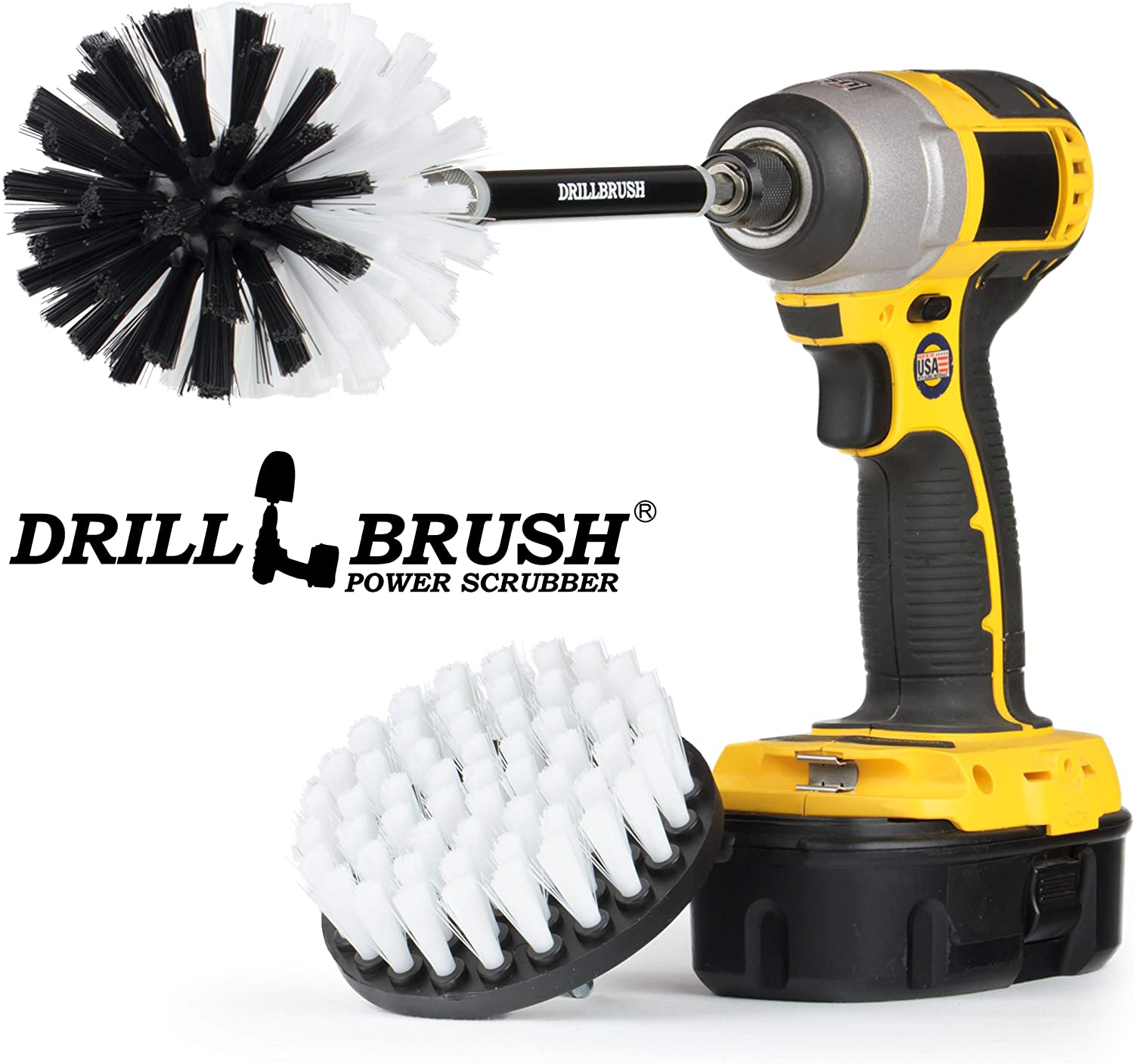 Drill Brush Power Scrubbing Brush Kit with Extension - Bathroom Accessories - Shower Cleaner - Bidet - Toilet Brush- Grout Cleaner - Carpet Cleaner - Tile, Sink, Bathtub (Automotive Soft-White)