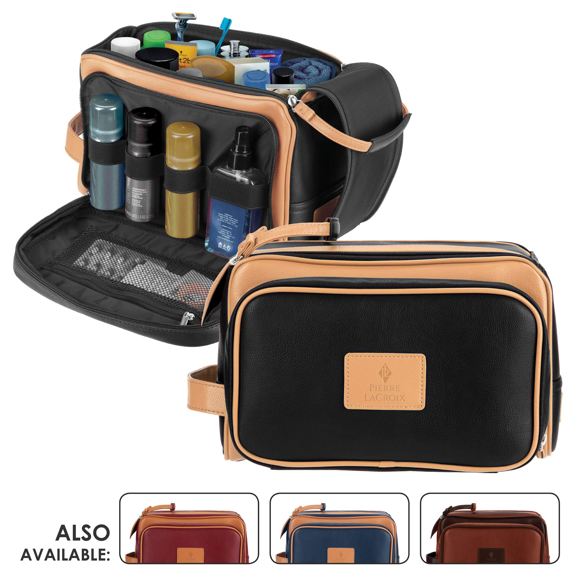 Cruelty-Free Leather Travel Toiletry Bag/Dopp Kit by Pierre LaCroix | Hand-Stitched Using Premium PU Leather and YKK Zippers | Leak Proof | (11''x7''x7'') (Centurion Black)