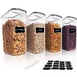 Robernet Recipientes para Cereales Almacenamiento de Alimentos Harina Pasta 12 Etiquetas para Cereales Jarras de Almacenamiento de Pl/ástico con Tapa Herm/ética Sin BPA,Juego de 8