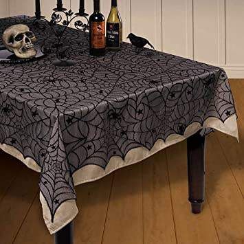 Marvelous 54u201dx 72u201dHalloween Spider Web Tablecloth Decoration Cobweb Lace Tablecloth  Festive Party Supplies