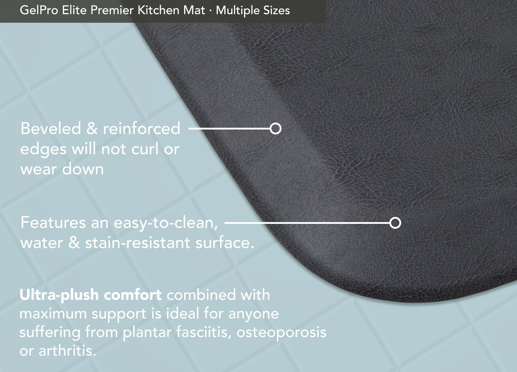"""GelPro Elite Premier Anti-Fatigue Kitchen Comfort Floor Mat, 20x72"""", Vintage Leather Slate Stain Resistant Surface with Therapeutic Gel and Energy-return Foam for Health and Wellness by GelPro (Image #4)"""
