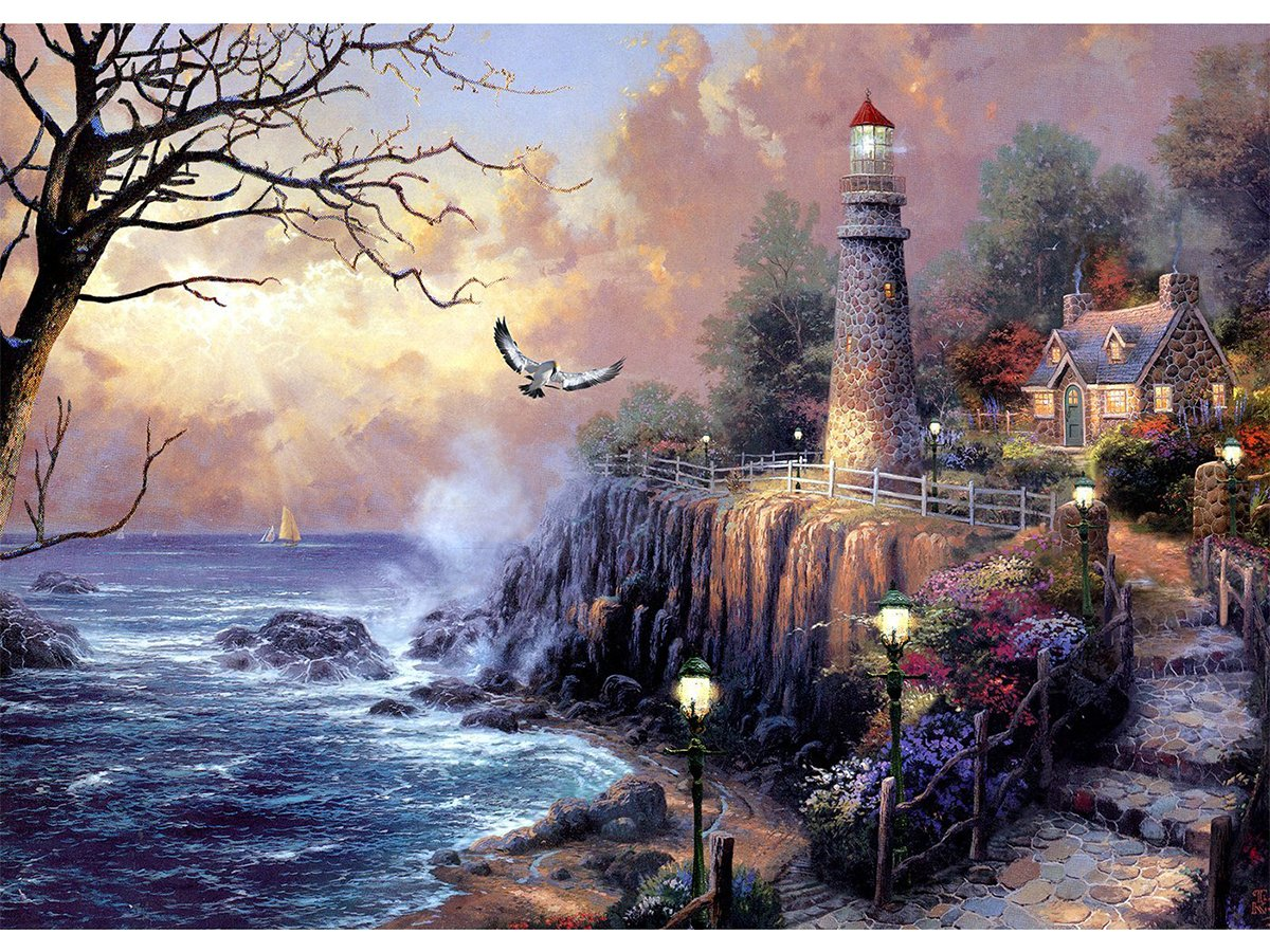 Blxecky 5D DIY Diamond Painting , By Number Kits Crafts & Sewing Cross Stitch,Wall stickers for living room decoration, lighthouse(35X45CM/14X18inch)