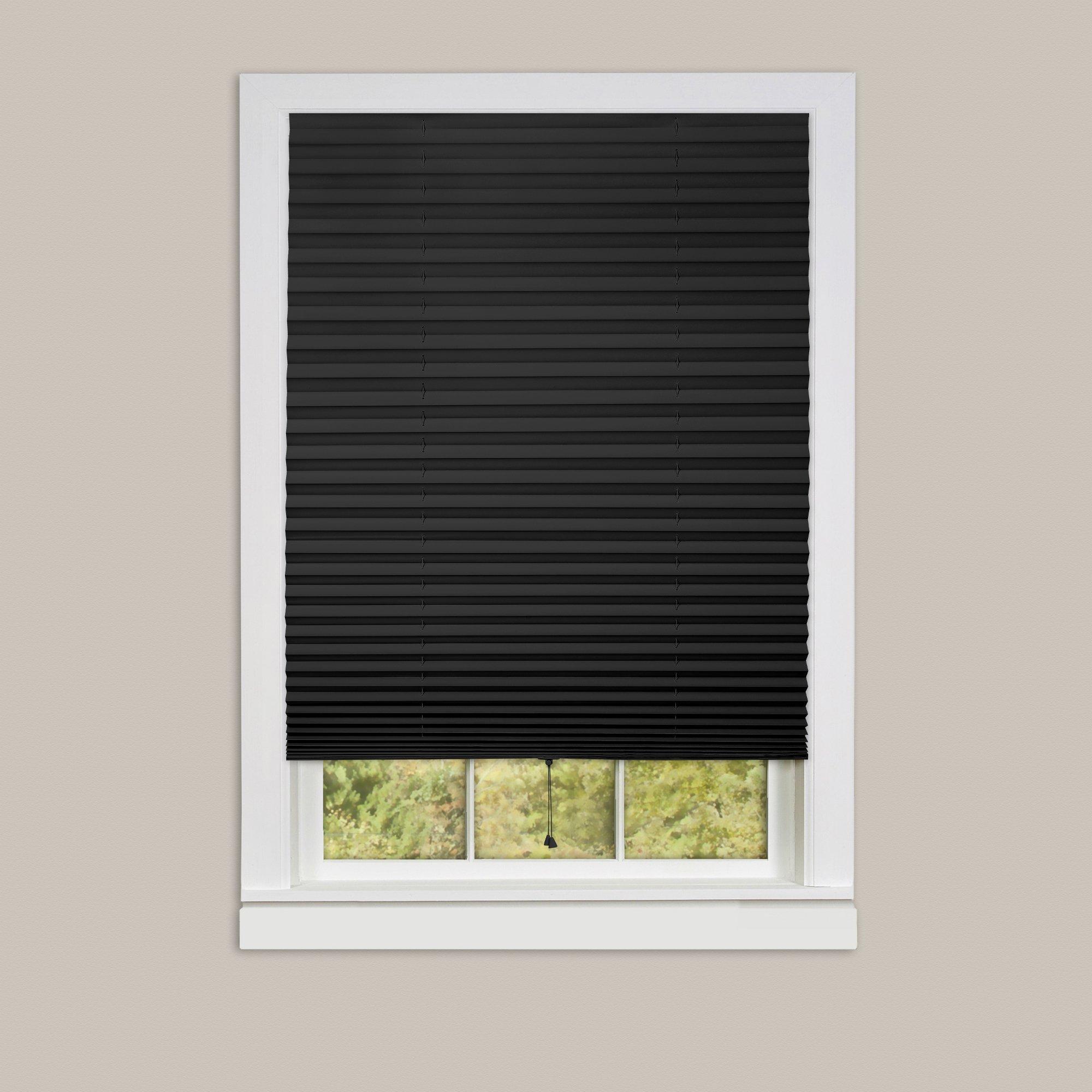 Achim Home Furnishings 1-2-3 Vinyl Room Darkening Temporary Pleated Window Shade, 48'' X 75'', black, 48 X 75
