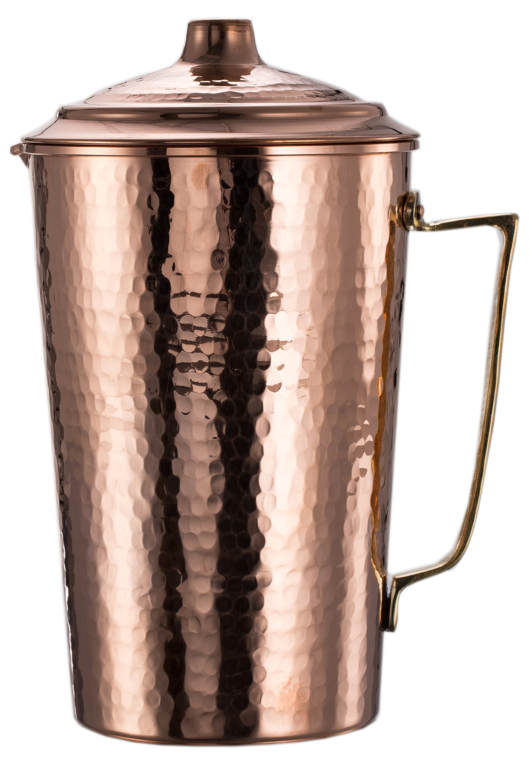 New* CopperBull 2017 Heavy Gauge 1mm Solid Hammered Copper Water Moscow Mule Serving Pitcher Jug with Lid, 2.2-Quart (Hammered Copper) by CopperBull