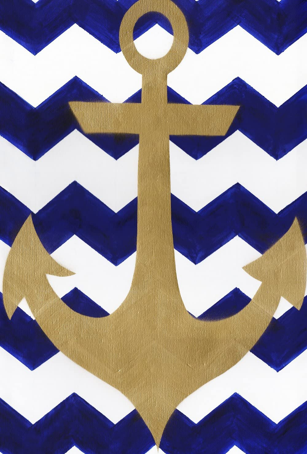 Toland Home Garden Chevron Anchor 12.5 x 18 Inch Decorative Blue Gold Nautical Pattern Garden Flag