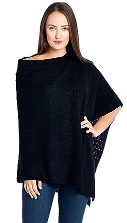 034a9c5f0 Mariyaab Women's 100% Cashmere Soft Knitted Travel Wrap Poncho  Sweater(PS18L, Black,
