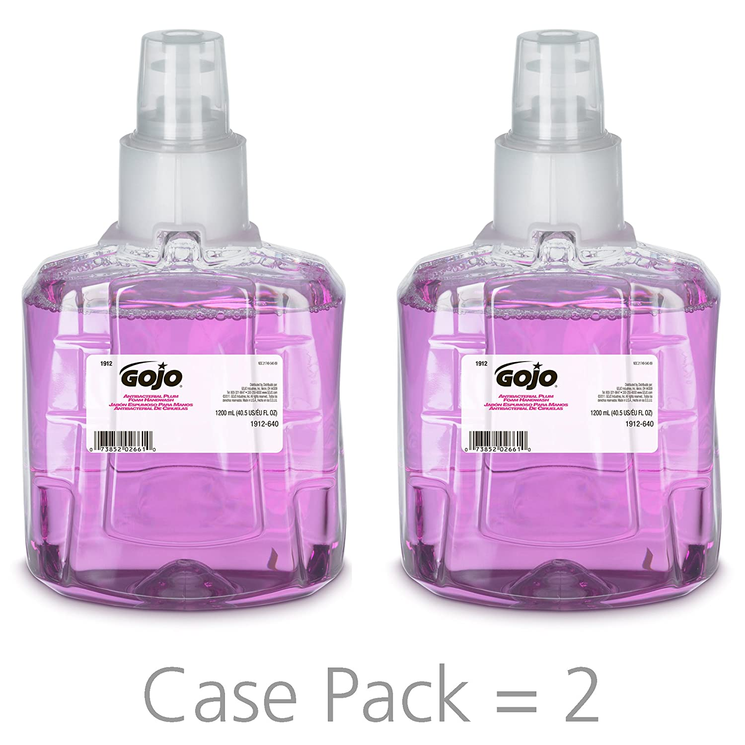 GOJO Antibacterial Foam Handwash, Plum Fragrance, 1200 mL Foam Hand Soap Refill for GOJO LTX-12 Touch-Free Dispenser (Pack of 2) - 1912-02