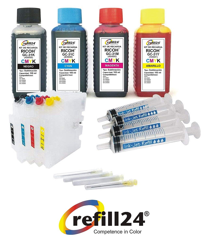 Kit de Recarga para sublimacion Ricoh GC31, GC31K, GC31C, GC31M, GC31Y Negro y Color + Cartuchos Recargables y Accesorios (Non OEM) refill24