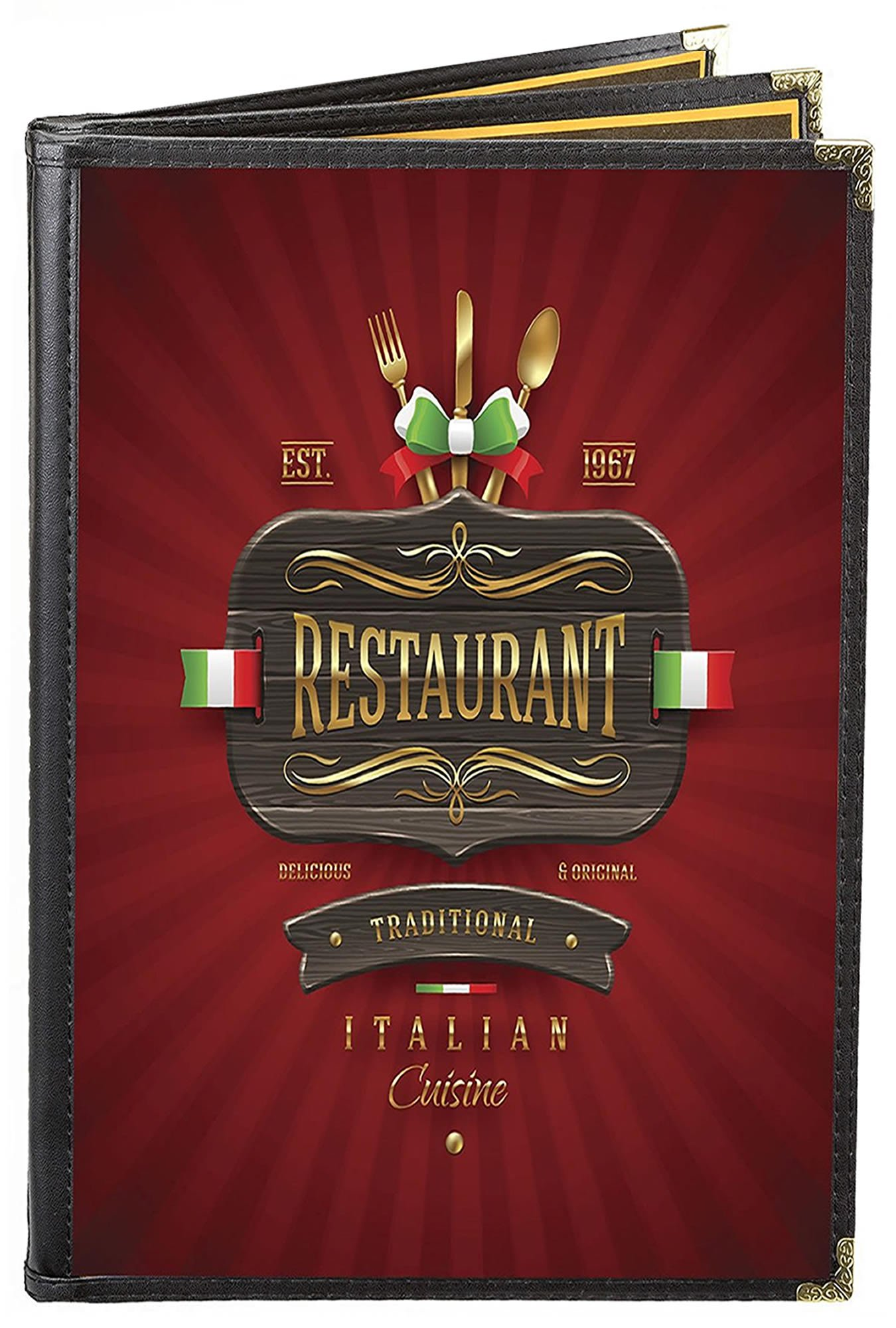 MenuCoverMan • Case of 25 Menu Covers • BETTER QUALITY #3139 BLACK TRIPLE PANEL BOOKLET - 6-VIEW - 8.5'' WIDE x 11'' TALL - DOUBLE-STITCHED Leatherette Vinyl Sewn Edge. Gold metal corners. by MenuCoverMan