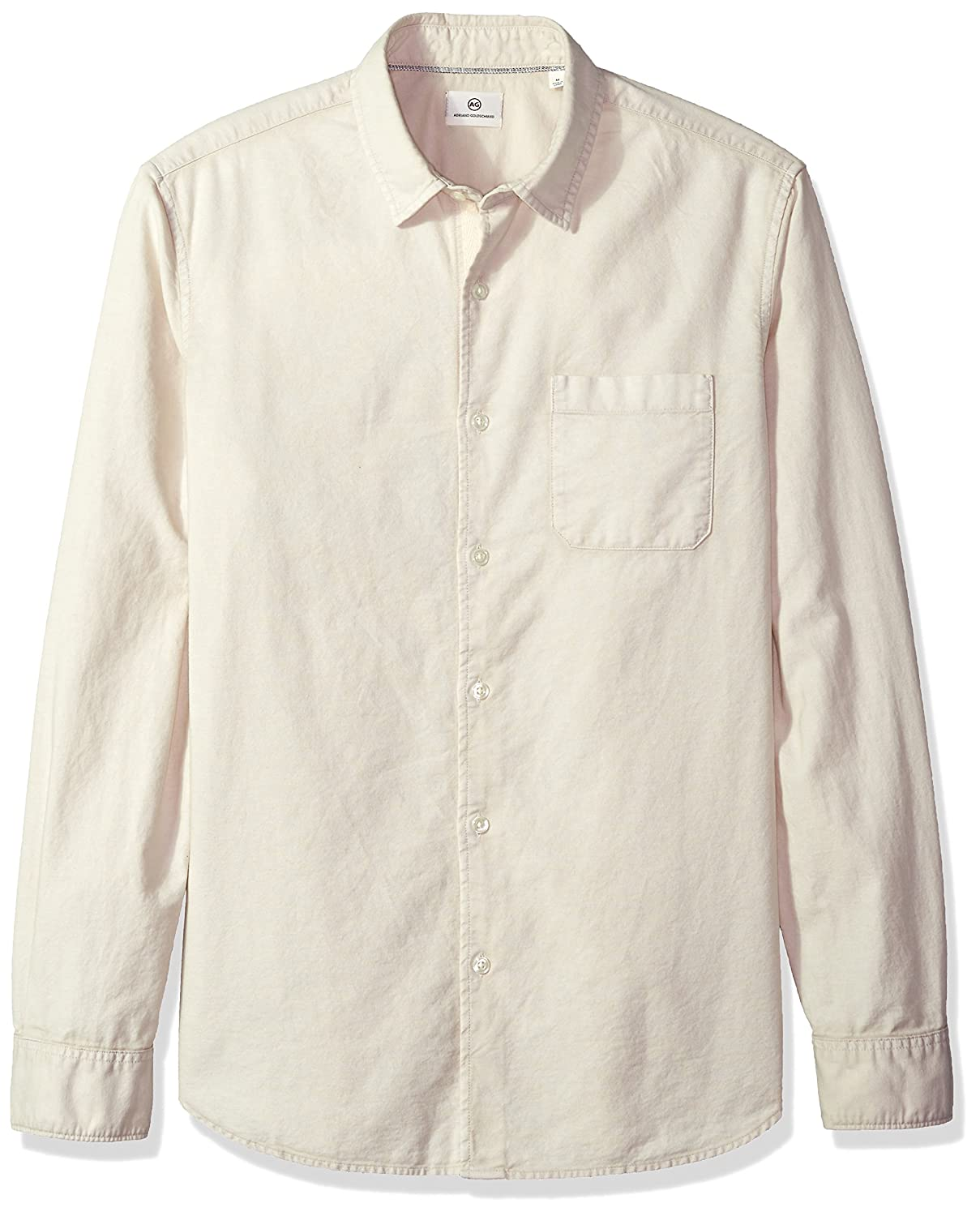 AG Adriano Goldschmied Mens Bristol Long Sleeve Slub Cotton Button Down Oxford