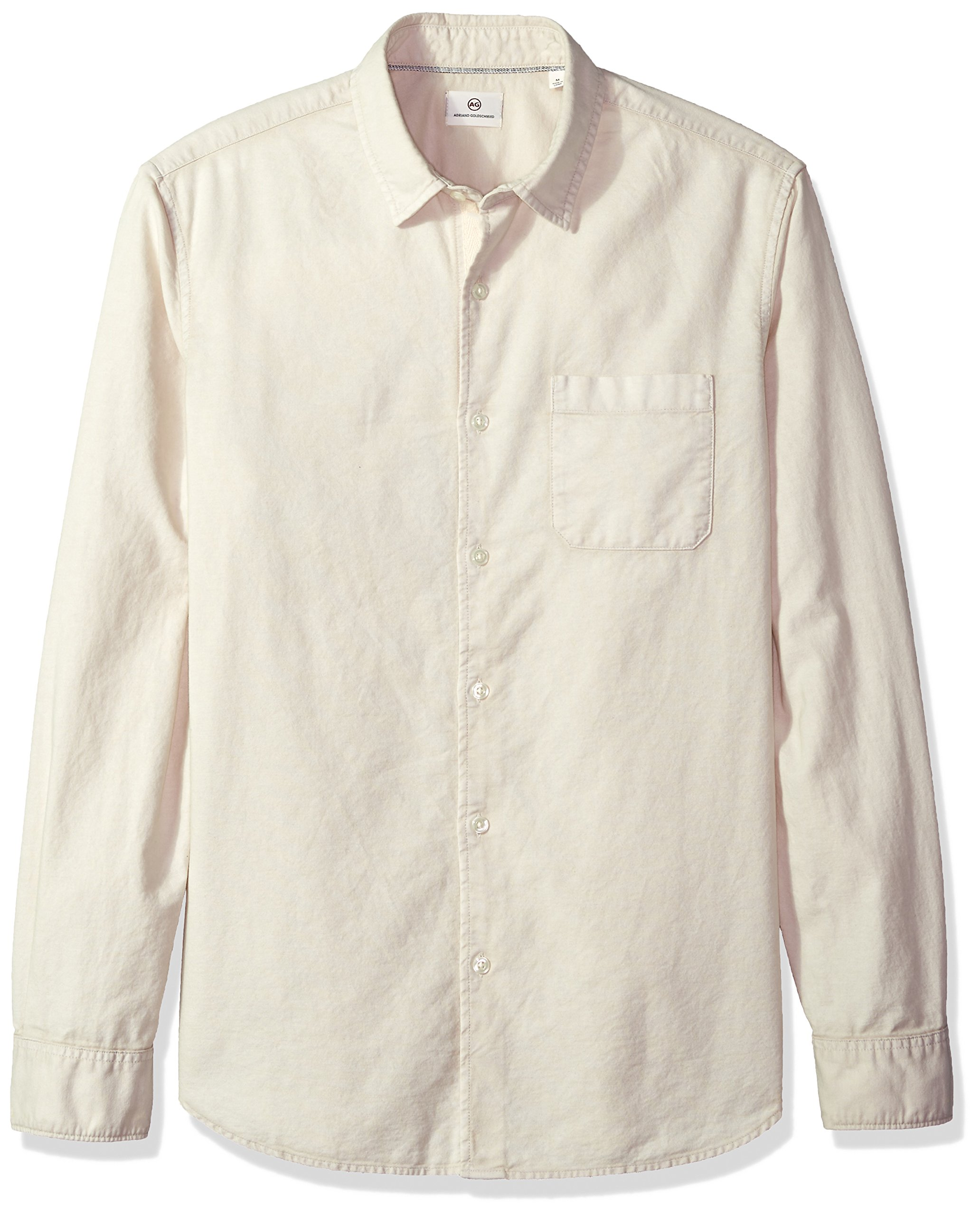 AG Adriano Goldschmied Men's Bristol Long Sleeve Slub Cotton Button Down Oxford, Sunbaked Mineral Veil, L