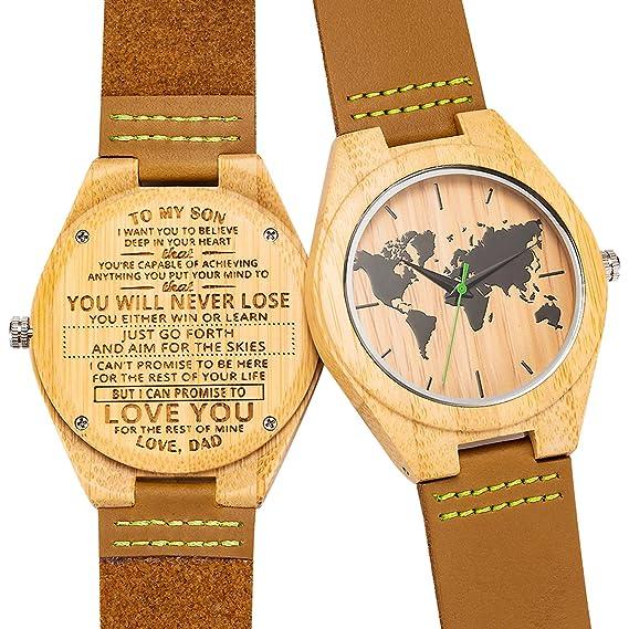 Corbin - Reloj de Madera Grabado para Hijo y Novio, Reloj de Madera Personalizado,
