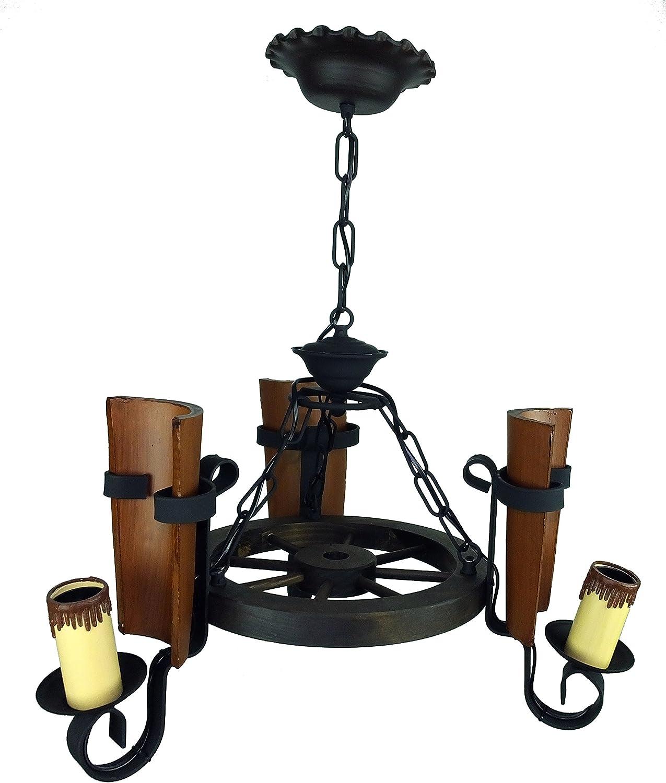 Lámpara rustica fabricada con rueda de carro y 3 luces con tejas ...