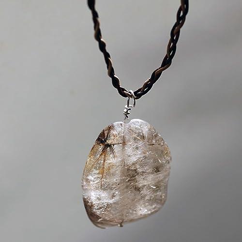 Amazon rutilated quartz crystal pendant necklace by mystic rutilated quartz crystal pendant necklace by mystic crystals clear quartz crystal pendant with rultiles aloadofball Choice Image