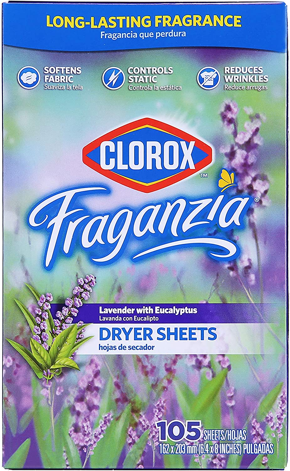 Clorox Fraganzia Fabric Softener Dryer Sheets | Scented Laundry Dryer Sheets for Great Smelling Clothes |Beautiful Lavender Scent Laundry Sheets, 105 Count