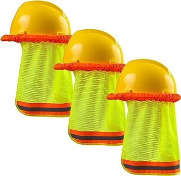 Ruisita 3 Pieces Neck Sun Shield Hard Hat Sun Shade High Visibility Mesh Sun Protector with Safety Reflective Stripe