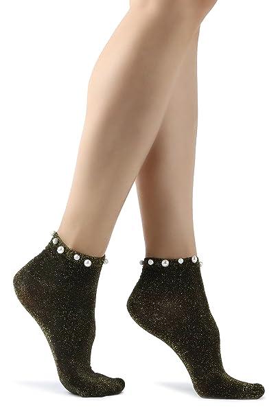 De las mujeres Moda Chicas y damas Brillante Metálico Resplandecer Calcetines con perlas en 5 colores