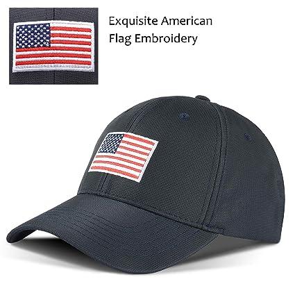 43f3eadd03b Tirrinia Unisex American Flag Embroidered Baseball Cap Adjustable Sports  Golf Cap Navy