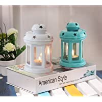 TIED RIBBONS Lantern Candle Holder with Tealight Candle, 6x3.7x3.7-inch(White and Blue) - Set of 2