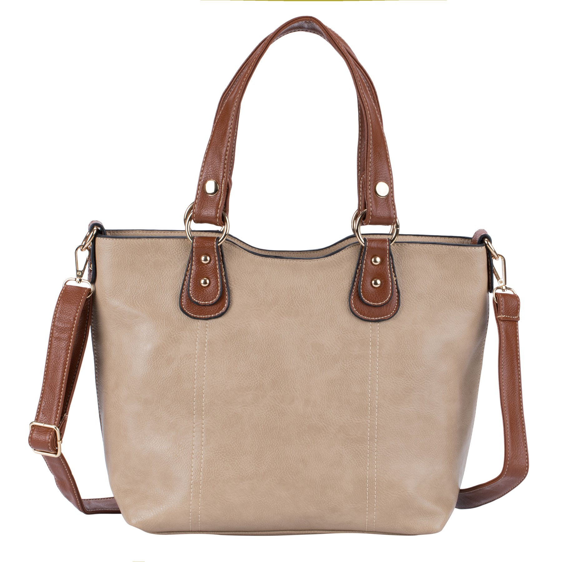 Tote Shoulder Handbags for Women Top Handle Shoulder Bags PU Leather Tote Purse by JolieLey Galanti (beige)
