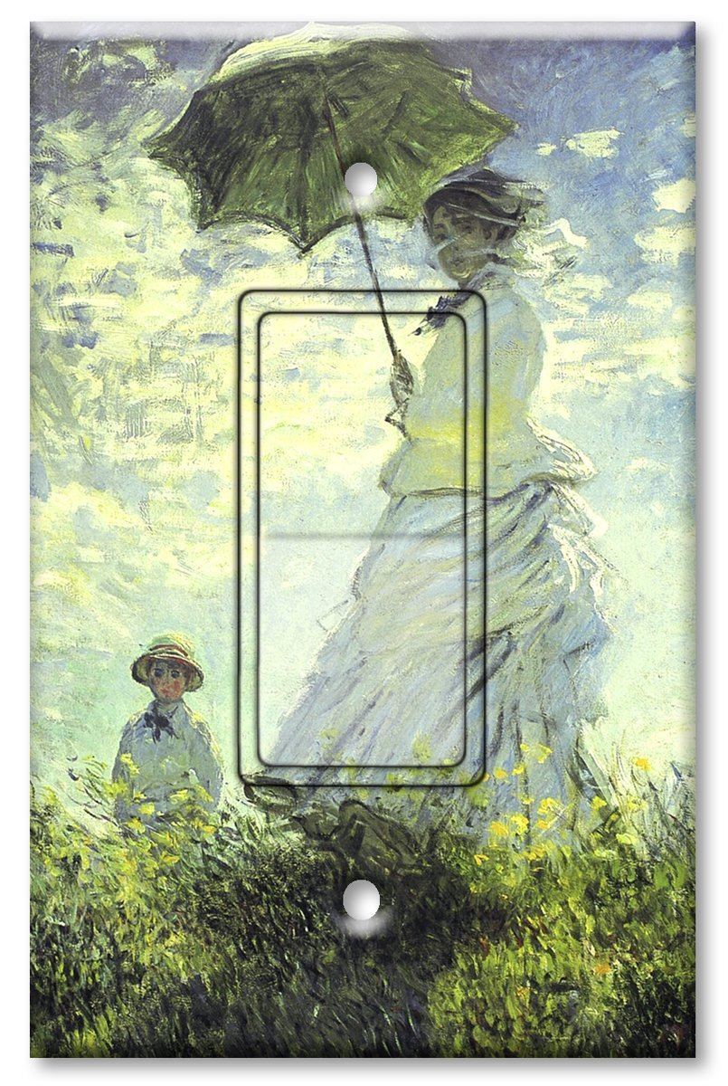 Printed Single-pole Decora Rocker Switch with matching Wall Plate - Monet: Woman with Parasol