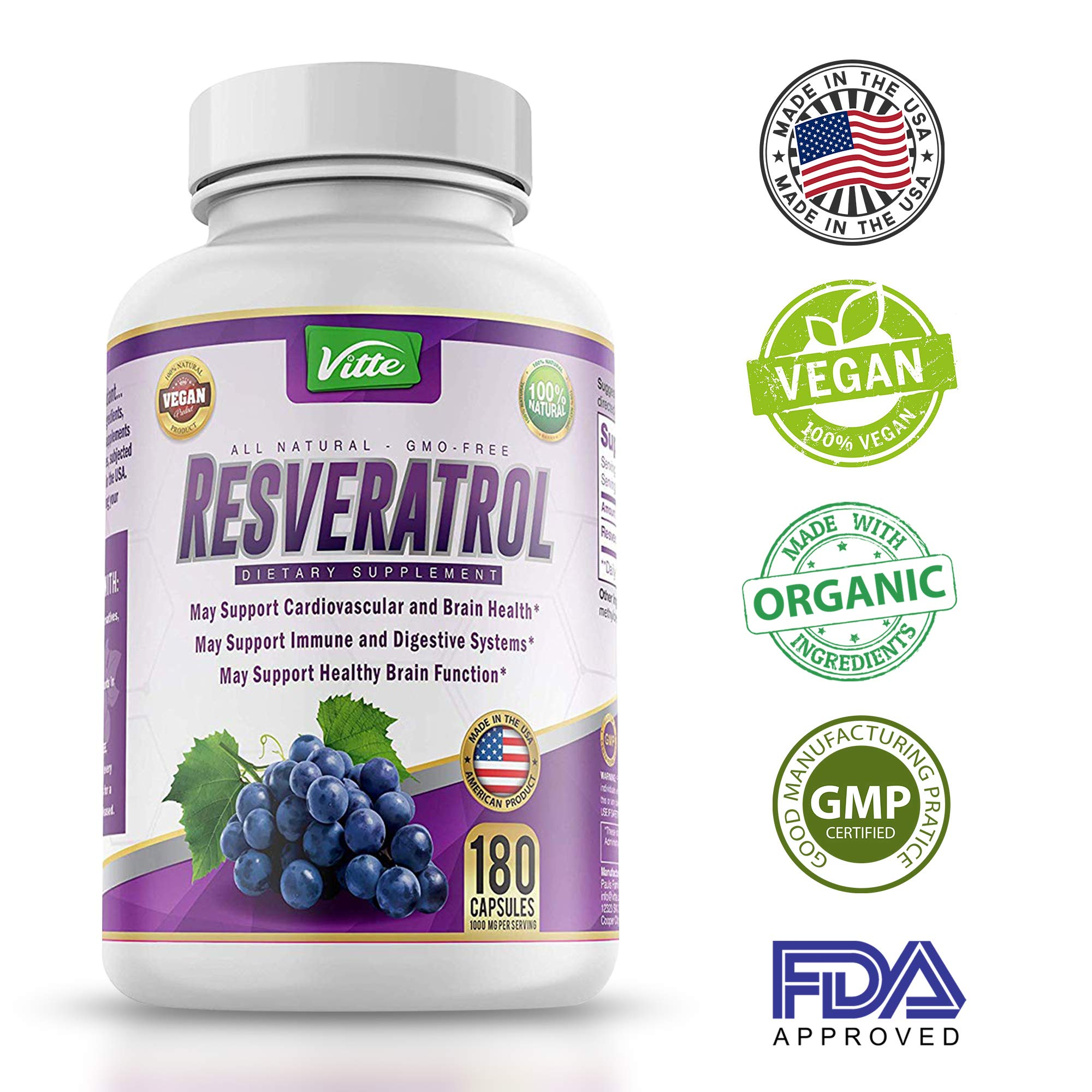 100% Pure Resveratrol - 1000mg Per Serving Max Strength 180 Capsules Antioxidant Supplement Extract Natural Trans-Resveratrol Pills for Heart Health and Weight Loss Made in USA by vitte