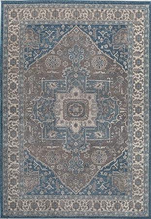 Teppiche America Et500 A Bereich Teppich Wolle Grau Blau 2 Ft 2