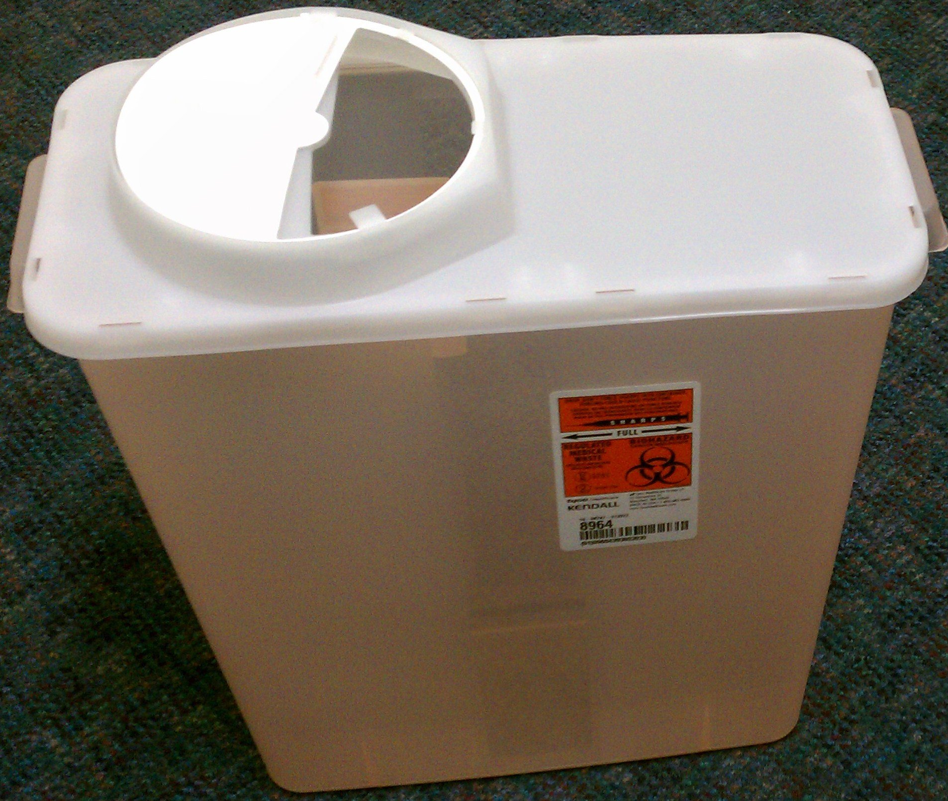 Kendall Sharps Container with Rotor Lid - 3 Gallon