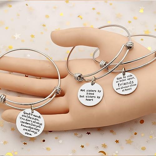 7ba8a6357527 AGR8T - Juego de pulseras colgantes para mejor amiga
