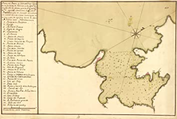 1750 Vintage carta náutica Costa da Morte España camerinas ...