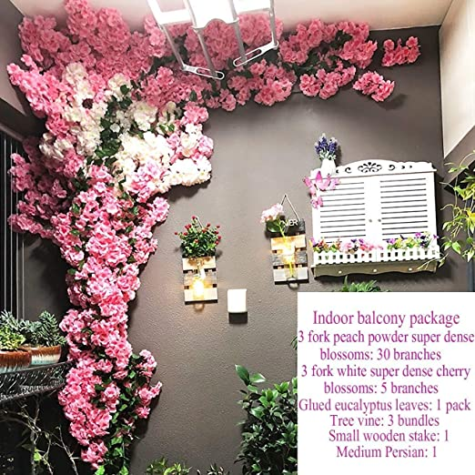 Amazon Com Chunnong Flowers Home Decoration Silk Cherry Tree Artificial Flowers Wedding Party Decoration Scene Color D Kitchen Dining