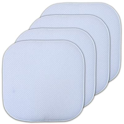 Sweet Home Collection 16x16 Memory Foam Chair Pad/Seat Cushion Pairs with Non-Slip Backing - 16 X 16 Light Blue Set of 4 Indoor-Outdoor: Home & Kitchen
