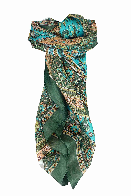 Square Traditional Silk Scarf Vaan Sage by Pashmina & Silk