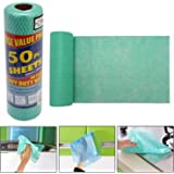 HOKIPO® Reusable Super Absorbent Cleaning Wipes Roll Value Pack, 1 Roll (50 Pc Sheet - 250x300mm each) (Green)