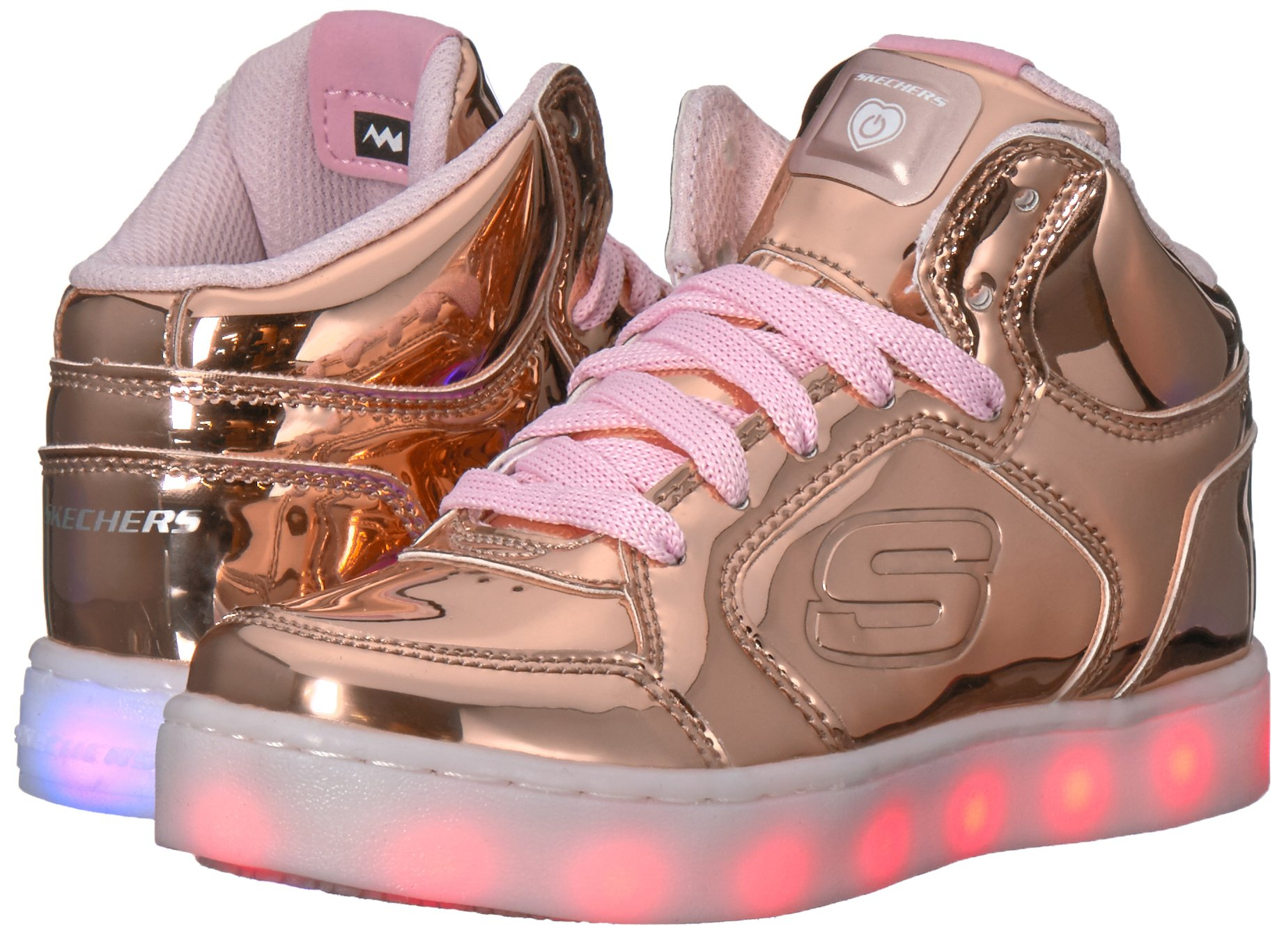 Skechers Kids Energy Lights-Dance-N-Dazzle Sneaker,Rose Gold,1 M US Little Kid by Skechers (Image #6)