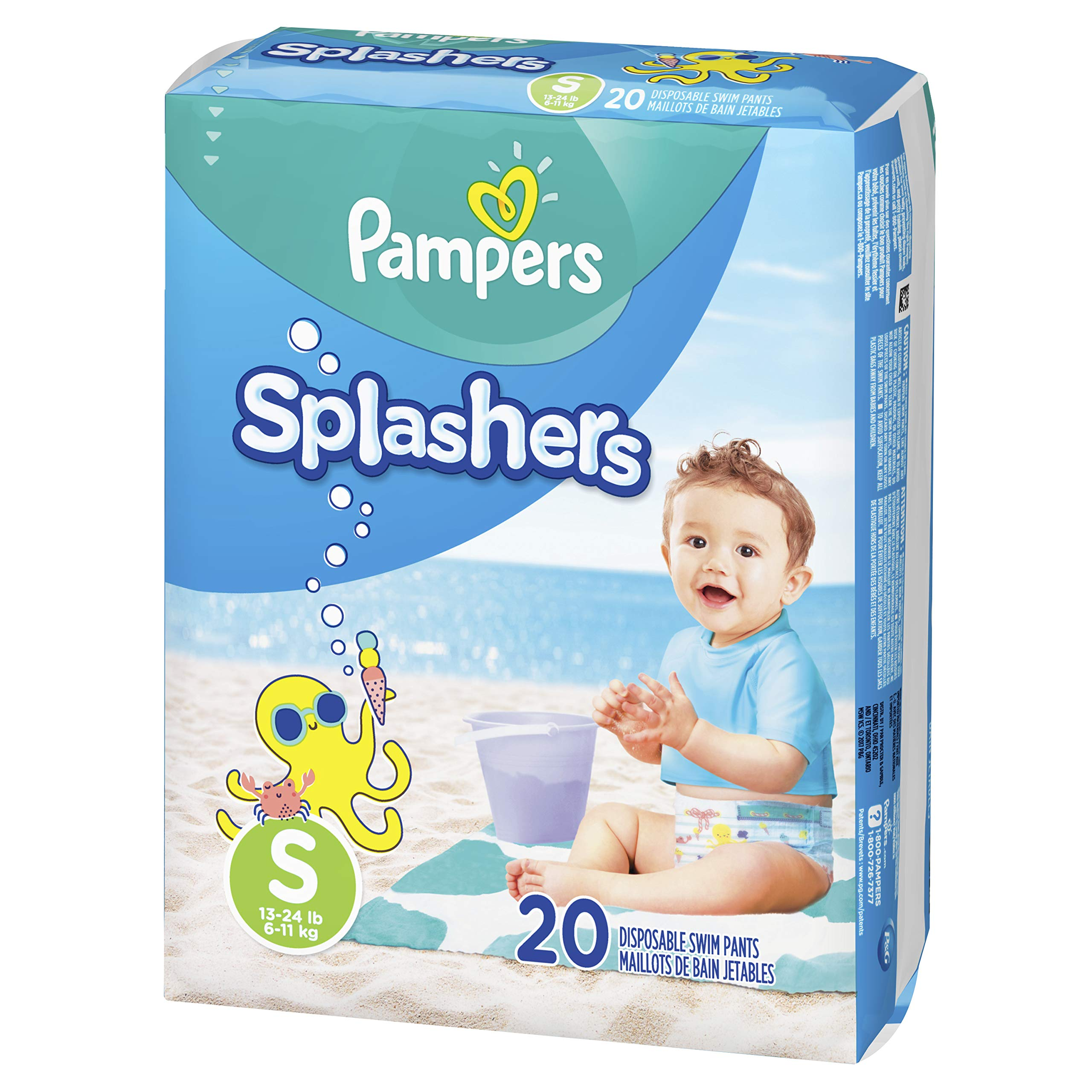 Swim Diapers Size 3 (13-24 lb), 20 Count - Pampers Splashers Disposable Swim Pants, Small by Pampers
